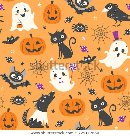 Seamless Background Cute Pumpkins Celebrating Halloween Stock photo © leedsn