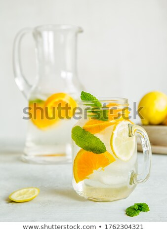 homemade refreshing summer lemonade with mint in a glas stock photo © manaemedia