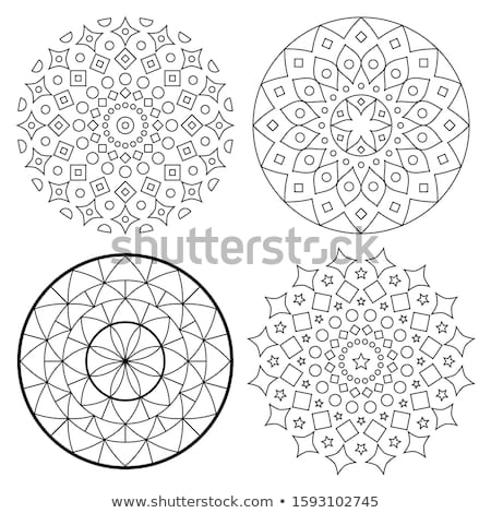 Mandala vector pattern set, bohemian zen yoga design, Asian ethnic design in black and white Stock photo © RedKoala