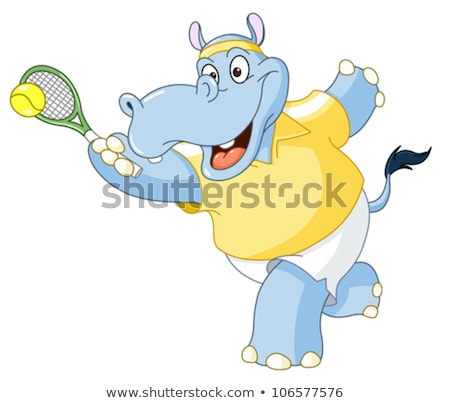 Cartoon hippo playing tennis Stock photo © bennerdesign