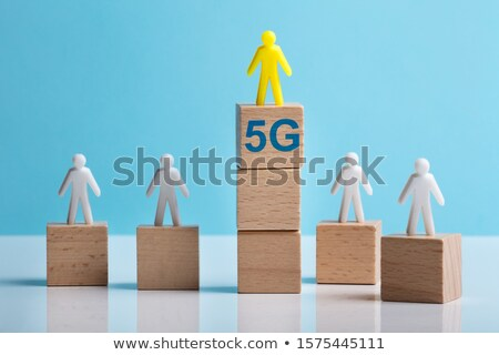 Yellow And White Human Figures Showing Comparison Of 5g Concept Stock photo © AndreyPopov