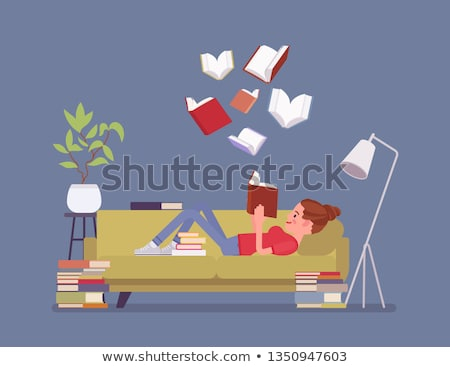 Kadın okuma edebiyat kanepe vektör Stok fotoğraf © robuart