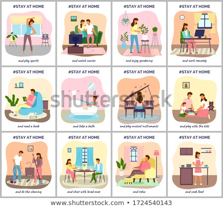 Coronavirus quarantine, stay at home. People sitting at their home, play with kids Stock photo © robuart