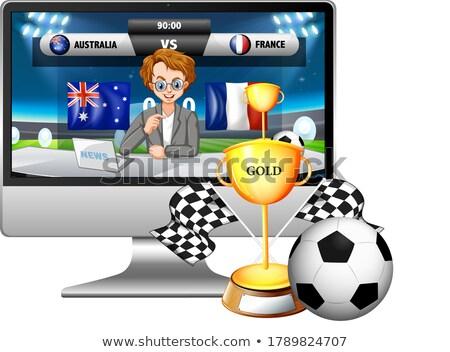 Futebol combinar notícia tela do computador troféu isolado Foto stock © bluering