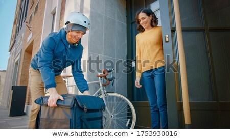 доставки логотип велосипедов человека курьер иллюстрация Сток-фото © bluering