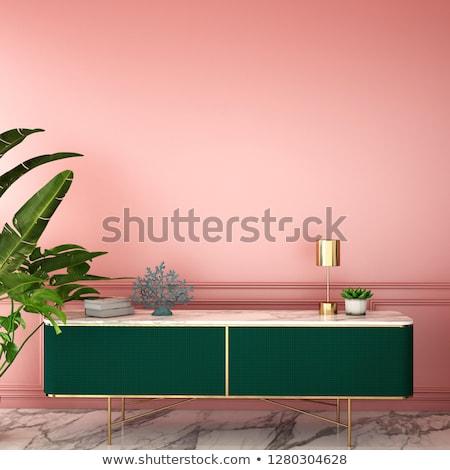 Yeşil koltuk iç modern tarzda ev dizayn Stok fotoğraf © jordygraph