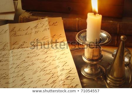 vieux · lettres · bougie · élégante · écriture · lettre - photo stock © fenton