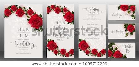 piros · rózsa · keret · vörös · rózsák · fehér · űr · másolat - stock fotó © elenaphoto