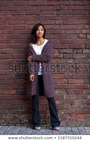 Stockfoto: Paars · gebreid · cardigan · geïsoleerd · witte · kleding