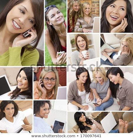 Glamorous Laughing Woman On Mobile Phone Stock photo © stryjek
