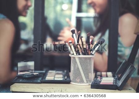 mujer · azul · vestido · dos · maquillaje · retrato - foto stock © marylooo