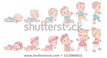 vetor · bebes · design · arte · menina · sorriso - foto stock © indiwarm