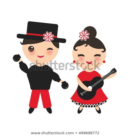 cigány · flamenco · táncos · Spanyolország · lány · piros · rózsa - stock fotó © lunamarina
