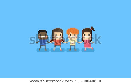 Пиксели дети набор мальчики слово шаров Сток-фото © meshaq2000