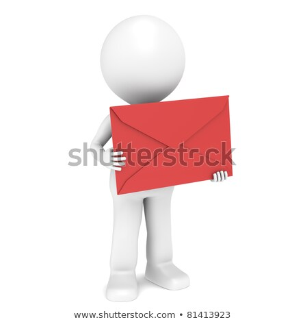 3d · persona · busta · piedi · rosso · lettera · mano - foto d'archivio © johanh