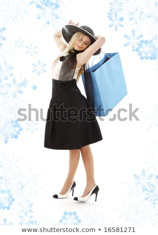 ショッピング · ブロンド · 黒のドレス · 雪 · エレガントな · ショッピングバッグ - ストックフォト © dolgachov