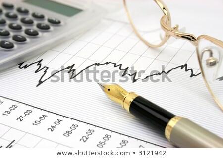 Töltőtoll szemüveg stock diagram kék jelentés Stock fotó © REDPIXEL