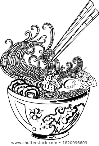 アジア ヌードル スープ エビ ポスター レストラン ストックフォト © sahua