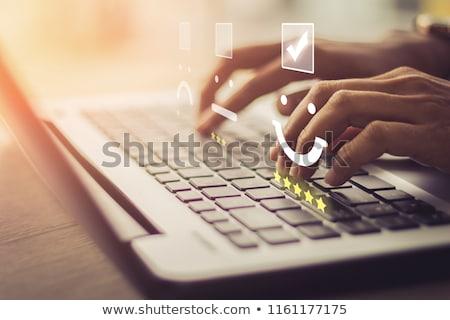 on-line · atendimento · ao · cliente · satisfação · exame · excelente · checkbox - foto stock © redpixel