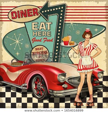 serveerster · retro-stijl · volwassen · diner · retro · uniform - stockfoto © lisafx
