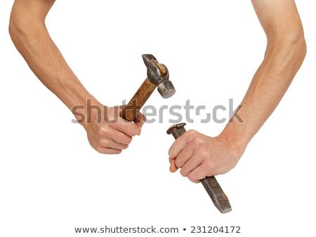 Photo stock: Homme · marteau · ciseler · bois · construction · travaux