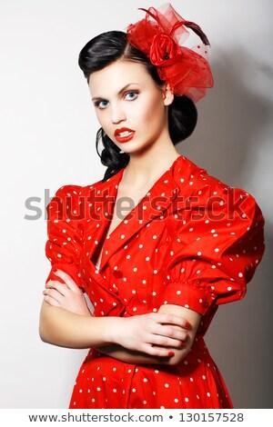 современных · высокомерный · женщину · красное · платье · моде - Сток-фото © gromovataya