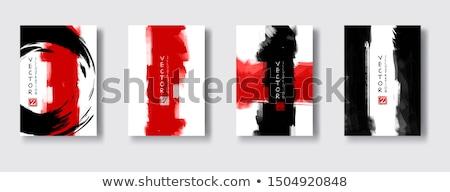 красный Гранж кадр черно белые фон чернила Сток-фото © grivet