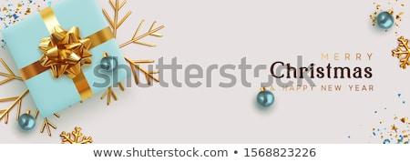Winter sale banner with xmas golden balls, vector Stock photo © carodi