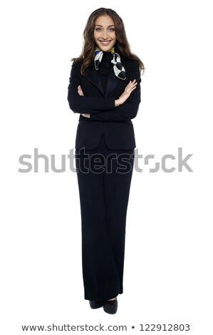 スタイリッシュ スチュワーデス ポーズ 折られた 腕 白 ストックフォト © stockyimages