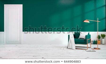 vazio · novo · quarto · verde · paredes · interior - foto stock © iriana88w