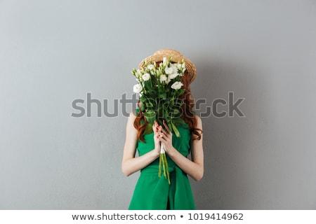 портрет · имбирь · женщину · цветок · волос · счастливым - Сток-фото © massonforstock