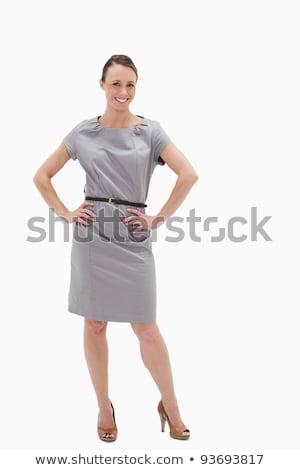 женщину позируют платье рук бедра белый Сток-фото © wavebreak_media