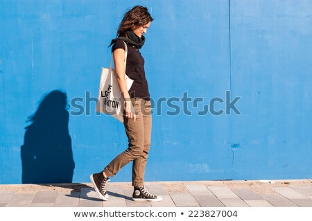 Fashion Model walking In Trendy Brown Dress. Shopping stock photo © gromovataya