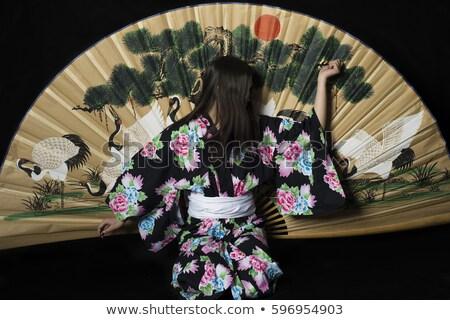 Nő hagyományos kimonó áll nagy selyem Stock fotó © wavebreak_media