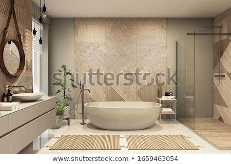 blu · interior · design · scena · moderno · divano · lampada - foto d'archivio © nirodesign
