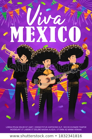 mexikói · zenész · naplemente · szín · illusztráció · zene - stock fotó © adrenalina