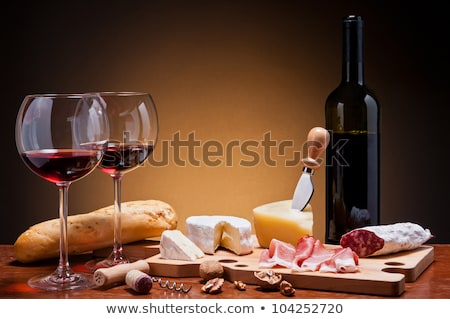 bor · kolbász · háttér · sajt · vacsora · üveg - stock fotó © M-studio