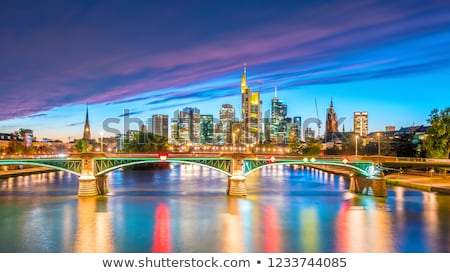 skyline of Frankfurt in sunset Stock photo © meinzahn