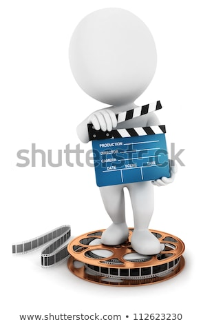 3d small people - cinema clapper and film tape stock photo © AnatolyM