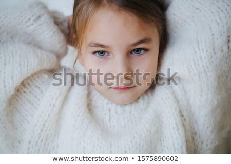 Barna hajú kislány portré néz sehol ház Stock fotó © lunamarina