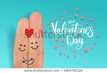 окрашенный пальца изолированный белый улыбка Сток-фото © oly5