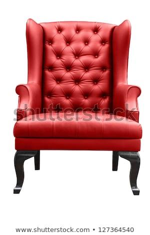 Сток-фото: красный · кожа · кресло · стены · текстуры
