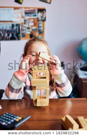 Küçük kız okul öncesi küçük kız pembe elbise Stok fotoğraf © maros_b