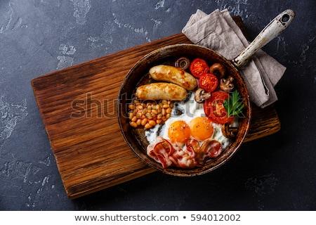 osztriga · tükörtojás · főtt · serpenyő · tojás · torta - stock fotó © mikko