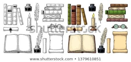 oud · boek · veer · vector · pen · achtergrond · kunst - stockfoto © yurkina