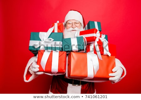 mikulás · bemutat · ajándék · doboz · izolált · fehér · arc - stock fotó © Nejron
