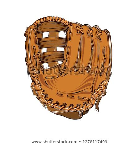Stock photo: Sketch baseball glove, vector vintage background