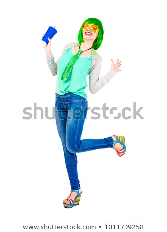 Cute esbelto verde peluca hermosa Foto stock © stryjek