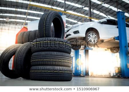 Establecer neumáticos coche ruedas colección blanco Foto stock © romvo