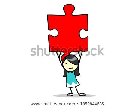 Bizalom piros puzzle fehér sikeres erő Stock fotó © tashatuvango